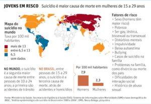 Mapa de suicídio no mundo